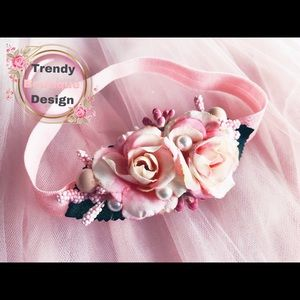 Other - Pink flower baby girl handmade headband